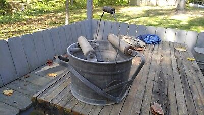 Vintage Galvanized Mop Bucket Metal Can Primitive Tub Wood Rollers & Handle