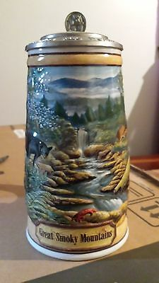 Budweiser GREAT SMOKY MOUNTAINS Stein CS297 America the Beautiful with box & coa