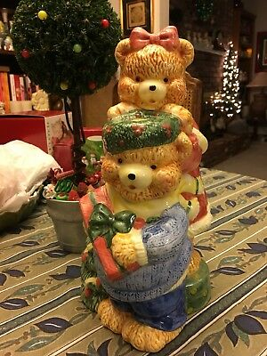 Christmas Bear Cookie Jar 1993 Looks like Omnibus/ Fitz and Floyd, But no Marks