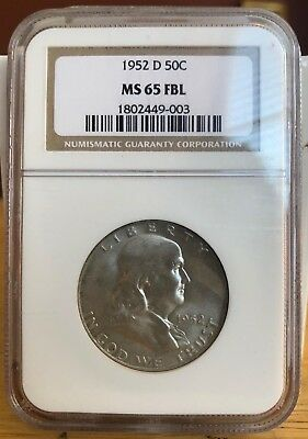 1952-D Franklin Silver Half Ngc Ms65 Full Bell Lines