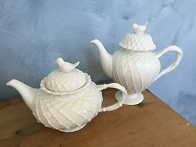 Grace Teaware China Victorian Bird Tall  Footed Coffee Pot & Tea Pot  White NE