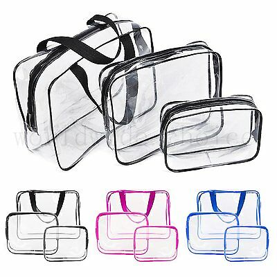 3 pcs Clear Transparent Bag Toiletry Waterproof Cosmetic organizer Beach Travel