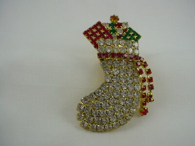 Vintage Rhinestone Christmas Stocking Sock With Gifts Presents Pin Brooch
