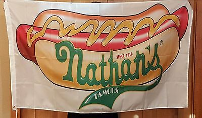 Nathan's 3x5ft Hot Dog Flag Hot Dogs Concession Stand Banner Brass Grommets
