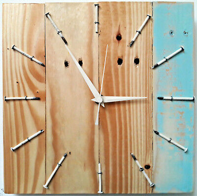 Original Driftwood Wooden Wood Clock Recycled Reclaimed Rustic Shabby Handmade