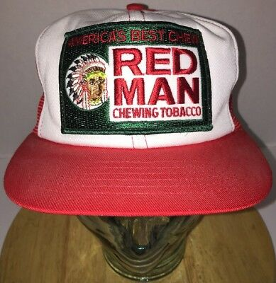 Vintage RED MAN America's Best Chew Chewing Tobacco Trucker Hat Cap Snapback USA