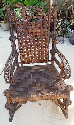 Antique Heywood Wakefield Rattan Wicker Rocking Chair ca 1900 Rocker Orig. Label
