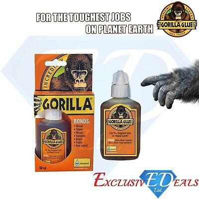 Gorilla Glue For Wood Stone Metal Ceramic Glass Waterproof 100% Tough - 60ml