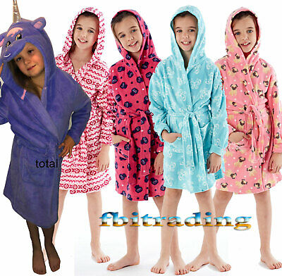 kids girls dressing gown robe hooded & SHAWL polar fleece gowns pug owl
