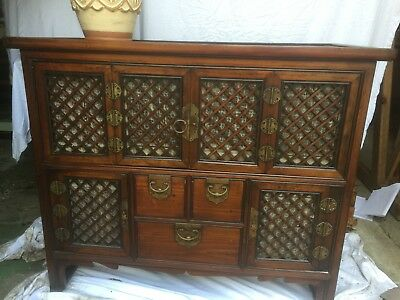 A Lovely and Quirky Antique Chinese Cabinet with 3 small drawers a 2 cupboards