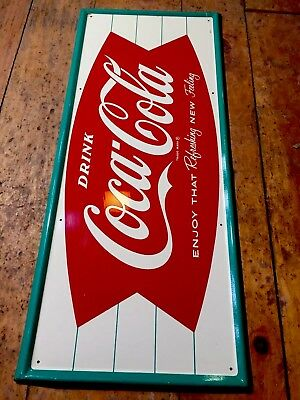 Vintage Original 1958-63 COCA COLA COKE ARCIFORM FISHTAIL Advertising Soda Sign!