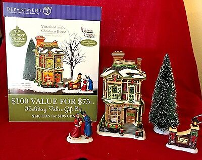 Victorian Family Christmas House Dickens Village Series Dept 56 58717- set of 6