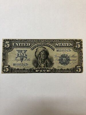 1899 Indian Chief Onepapa $5 Silver Certificate U.S. Five Dollars Large Note FS!