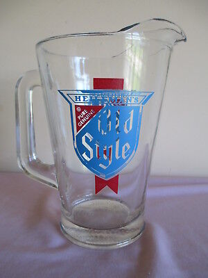 Vintage Heileman's Old Style Beer Heavy Glass Pitcher ~ Mancave