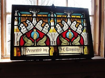 Antique Presentation Church Stained Glass Window Architectural Salvage Kingsley