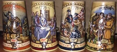 "Complete Set Of 4 Miller Collector's Series ""Birth Of A Nation"" Beer Steins Mugs"
