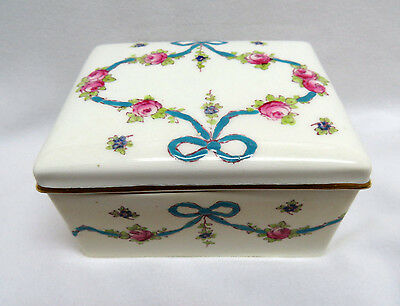 Vintage Staffordshire England Hand Painted Bone China Trinket / Cigarette Box