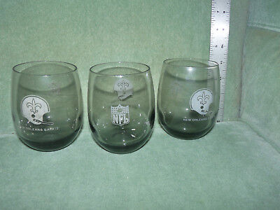 1970s 3 New Orleans Saints Vintage Old Bar Drinking Tumbler Smoked Glass NFL