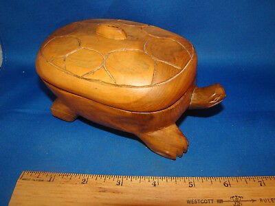 "Folk Art Wooden Turtle Hand Carved Trinket Box Made In Kenya 6"" long @5"
