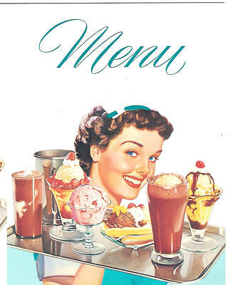 DINER MENU With Waitress for 1950s Diner Cafe Soda Fountain Carop Drive-In Party