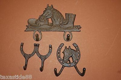 (3)pcs,VINTAGE LOOK,WESTERN,HORSE DECOR,HORSESHOES,WALL HOOKS,BROWN,W-7,W-9,W-5