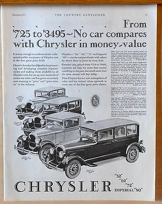 Vintage 1927 magazine ad for Chrysler - Four models, No car compares in value