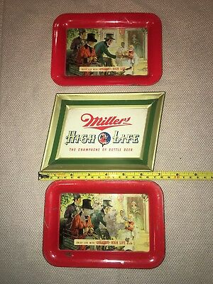 Vintage Tin Litho Tip Trays Lot Of 3