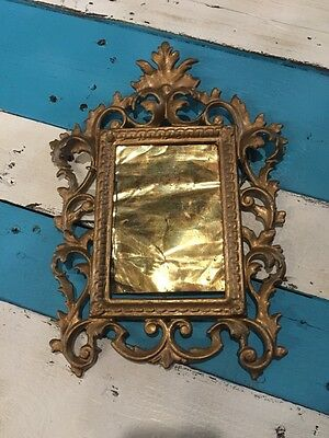 "Vintage Gold Gilt Metal Iron Rococo Ornate Frame Hanging 12"" By 81/2"" Italian"