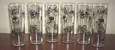 Set of SIX Vtg Libby Old Time FORD HUDSON BUICK Antique Cars GLASS Highball
