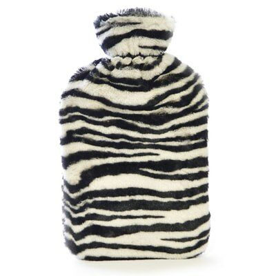 Kids Quality Soft Zebra Plush Faux Fur Covered Natural Rubber Hot Water Bottle