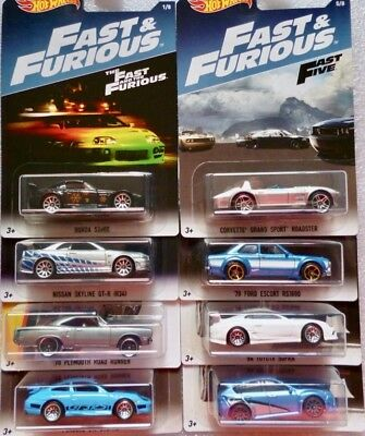 Fast & Furious Set  8 pcs  (Nissan, Toyota, Ford, Plymouth)  / Hot Wheels 1:64