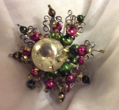 1950's Mercury Glass Tin Quilled Snowflake Christmas Ornament Double Sided Star!