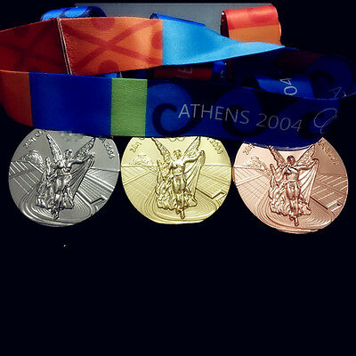 Athens 2004 Olympic Medals Set:Gold/Silver/Bronze with Silk Ribbons & Stands !!