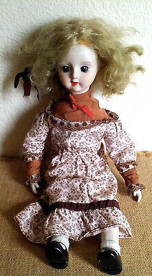 "Vintage Porcelain Doll 17"" Blonde Hair"