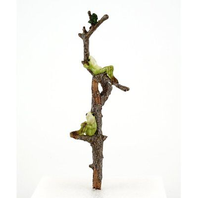 Top Collection Miniature Fairy Garden Two Frogs Relaxing on Branch  Planter