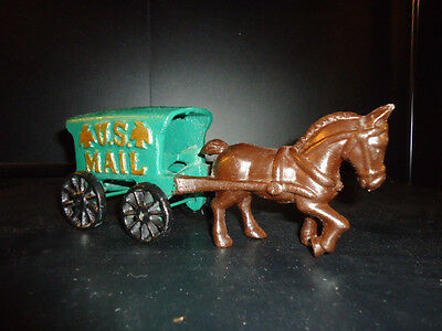Collectible Cast Iron Horse And Us Mail Wagon Green Wagon With Black Wheels