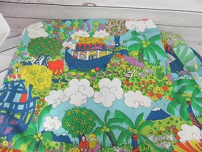 Vntg 70's Noah's Ark Rainbow Full Fitted Sheet Fabric Crafts Bible Bright Colors