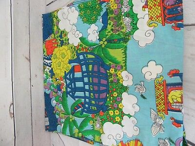 Vntg 70's Noah's Ark Rainbow Full Flat Sheet Fabric Crafts Bible Bright Colors