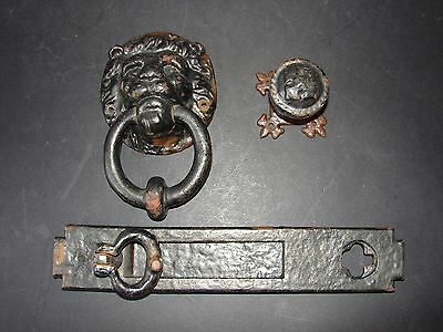 Antique Cast Iron Lion Door Knocker Letterbox and Handle