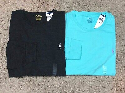 New Polo Ralph Lauren Long Sleeve T Shirt Classic Fit Pocket Msrp $45.00