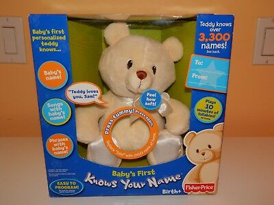 Fisher Price Baby's First Knows Your Name Teddy Bear -