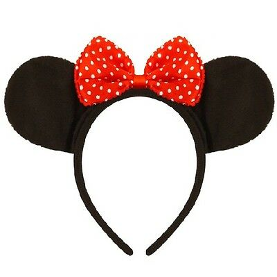 Fancy Dress Mouse Ears & Bow on Band Black/Red Hen Party Minnie New