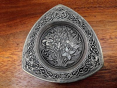 European .800 Silver Ash Tray or Pin Tray with Floral Decoration No Monogram