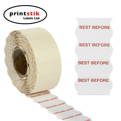 45,000 26 X 12mm WHITE PERMANENT WITH RED BEST BEFORE PRICE GUN LABELS ,CT4