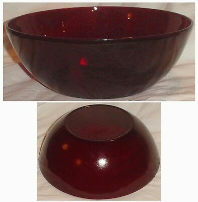 "VINTAGE RUBY RED  GLASS ROUND SERVING BOWL 8.25"" x 3"" /lot2"