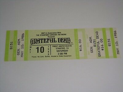 THE GRATEFUL DEAD VINTAGE 1986 UNUSED CONCERT TICKET Jerry Garcia Bob Weir may