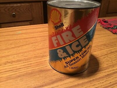 SHELL FIRE& ICE OIL CAN BANK Paper Label