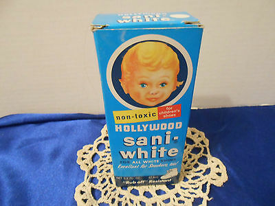 Vintage HOLLYWOOD SANI-WHITE Polish for White Shoes In Original Box Full NOS
