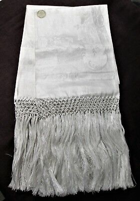 Fabulous Pair Antique Linen Damask Fringed Show Towels Unused w/ Labels ITALY