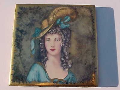 Rare Antique Painted Tile Of A Beautiful Victorian Woman Gold Trim Signed